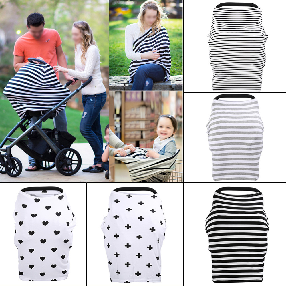 3 in 1 infant Baby Car Seat Canopy Shopping Cart Cover Rayon Nursing Cover Multi Use