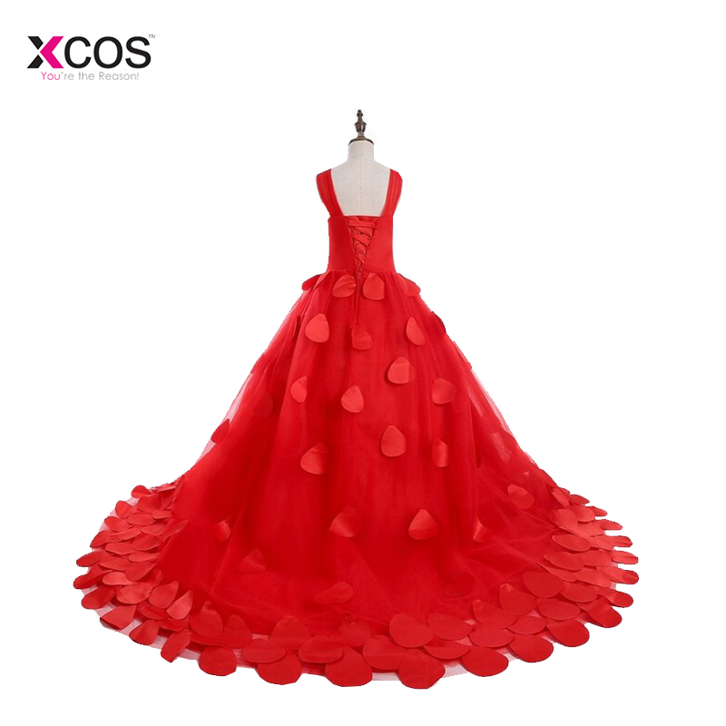 2018   Girls   Pageant   Dresses   Red Tulle Petals Decorations Lace Up Back Long   Flower     Girls     Dresses   For Weddings Custom Made