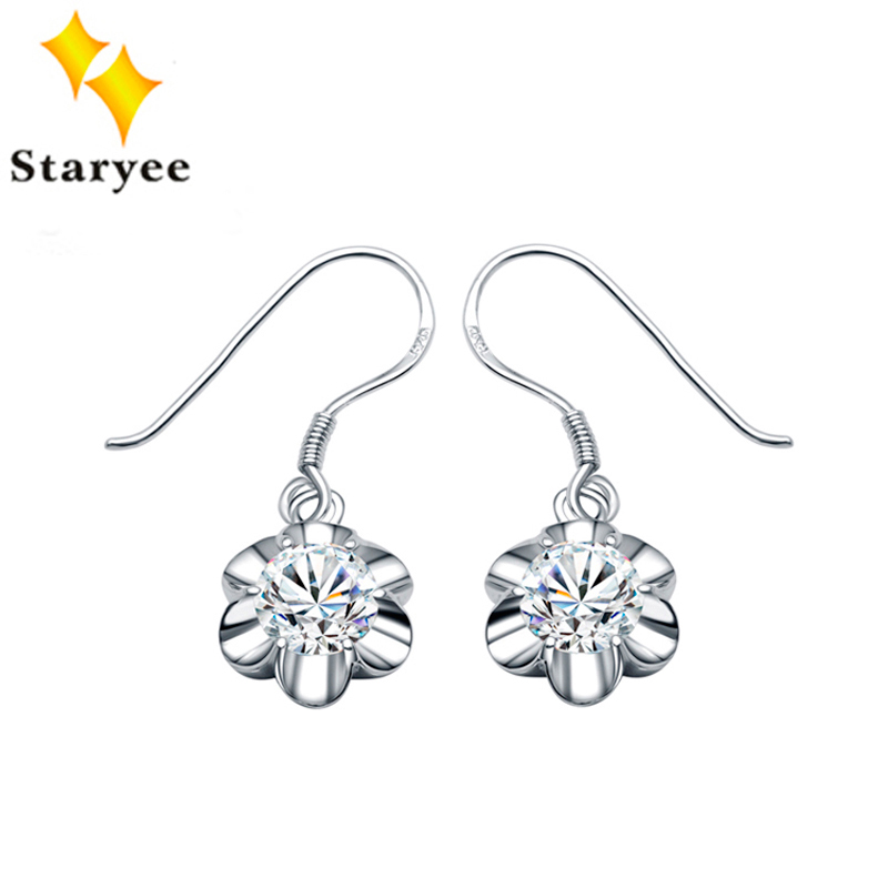 Flower Style Fashion Real 18K Solid White Gold Women Dangle Earrings For Engagement Certified Moissanite 2.0CT/Pair Round Cut cross style zinc alloy rhinestone women s earrings white golden pair