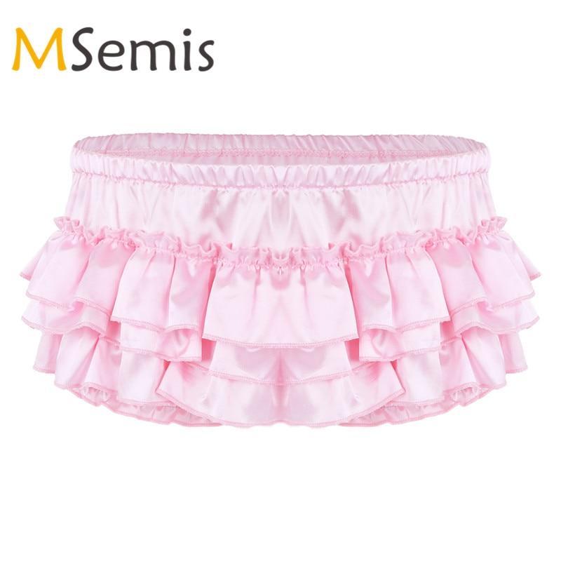 f98abd2b630 MSemis Mens Sissy Lingerie Shiny Satin Panties for Men Ruffled Bloomer  Tiered Sissy Skirted Panties Briefs