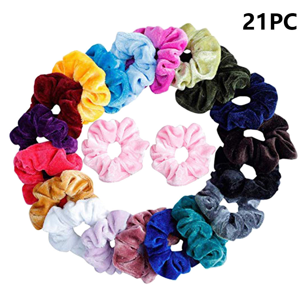 21 Pcs Vintage Hair Scrunchies Stretchy Velvet Scrunchie Pack Women Elastic Hair Bands Girl   Headwear   Solid Rubber Hair Ties #L5