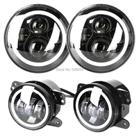 7inch Projector LED Headlight With DRL Hole Ring Amber&White + 4inch Hole Fog Lights for 1981 1985 Jeep CJ 8 Scrambler