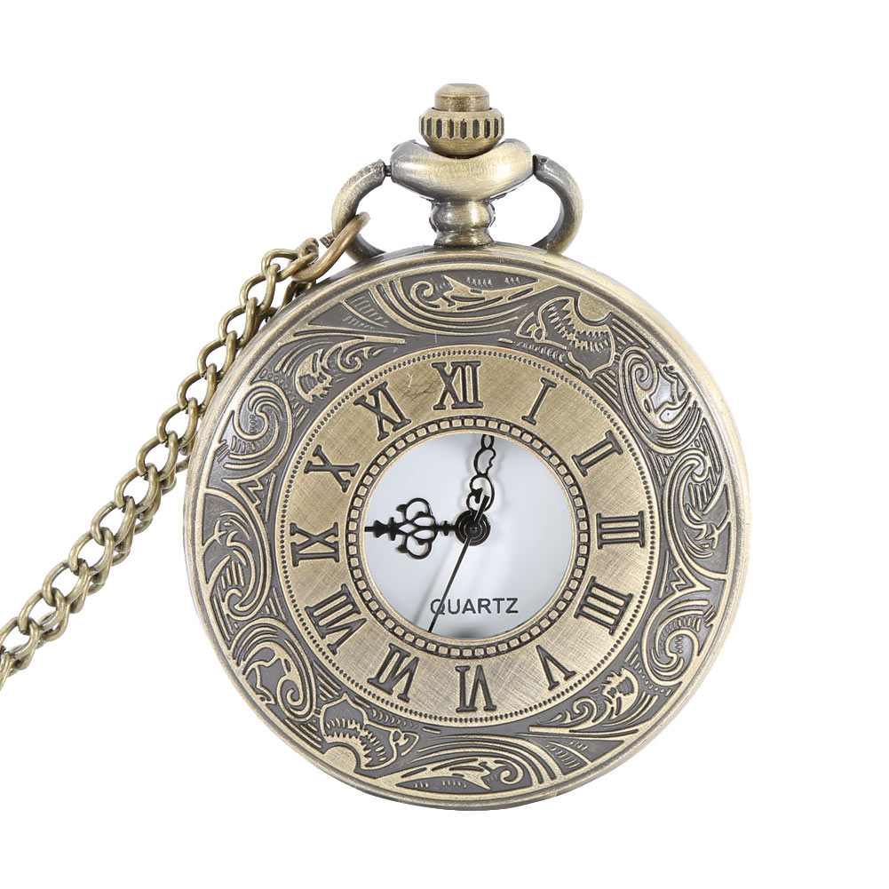 Pocket Fob Watch Roman Numerals Clock Vintage Quartz Watches Pendant Necklace Antique Chain Jewelry Gifts For Women Men  LL@17 antique gear roma numbers glass dome quartz pocket watch steampunk fob clock with necklace chain men women gift free shipping