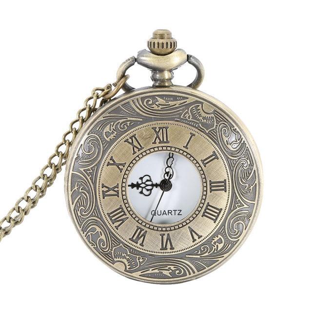 Pocket Fob Watch Roman Numerals Clock Vintage Quartz Watches Pendant Necklace An
