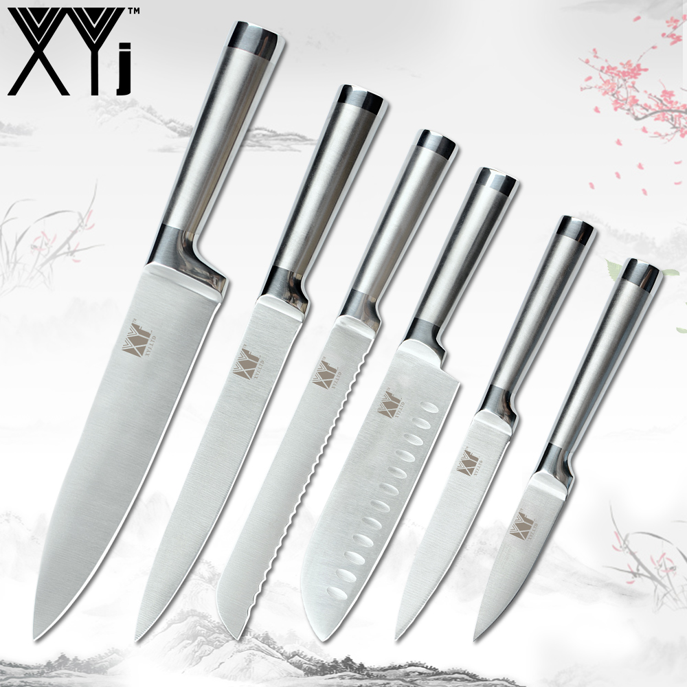 XYj Kitchen Knives Set Paring Utility Santoku Chef Slicing Bread Stainless Steel Kitchen Knife Sets Germany Steel Kitchen ToolsXYj Kitchen Knives Set Paring Utility Santoku Chef Slicing Bread Stainless Steel Kitchen Knife Sets Germany Steel Kitchen Tools