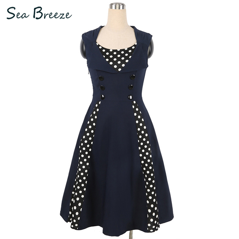 Sea Breeze Summer New Women Vintage Fashion Sleeveless