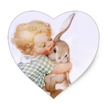 1 5inch Sticker Antique Adorable Easter Bunny hugs