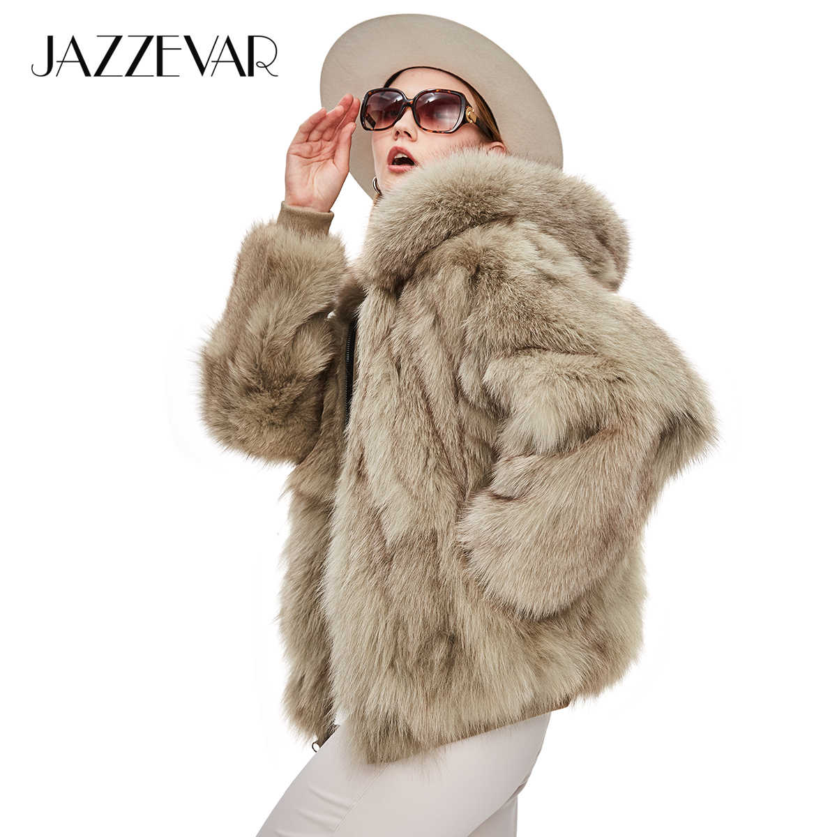 JAZZEVAR 2019 New Winter Socialite Fashion Women Luxurious Real Fox Fur Zipper Hooded Jacket Ladies outerwear Two sides for wear