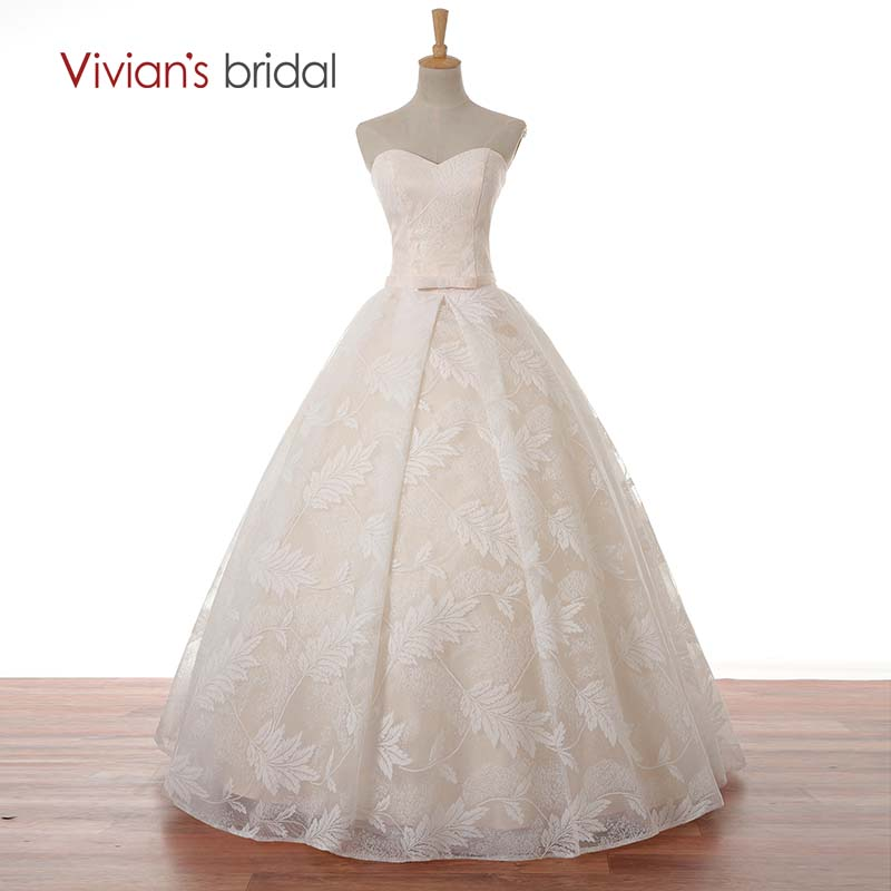 Vivians Bridal Floor Length Lace Sweetheart Wedding Dress Ball Gown Off Shoulder Simple Wedding Gown