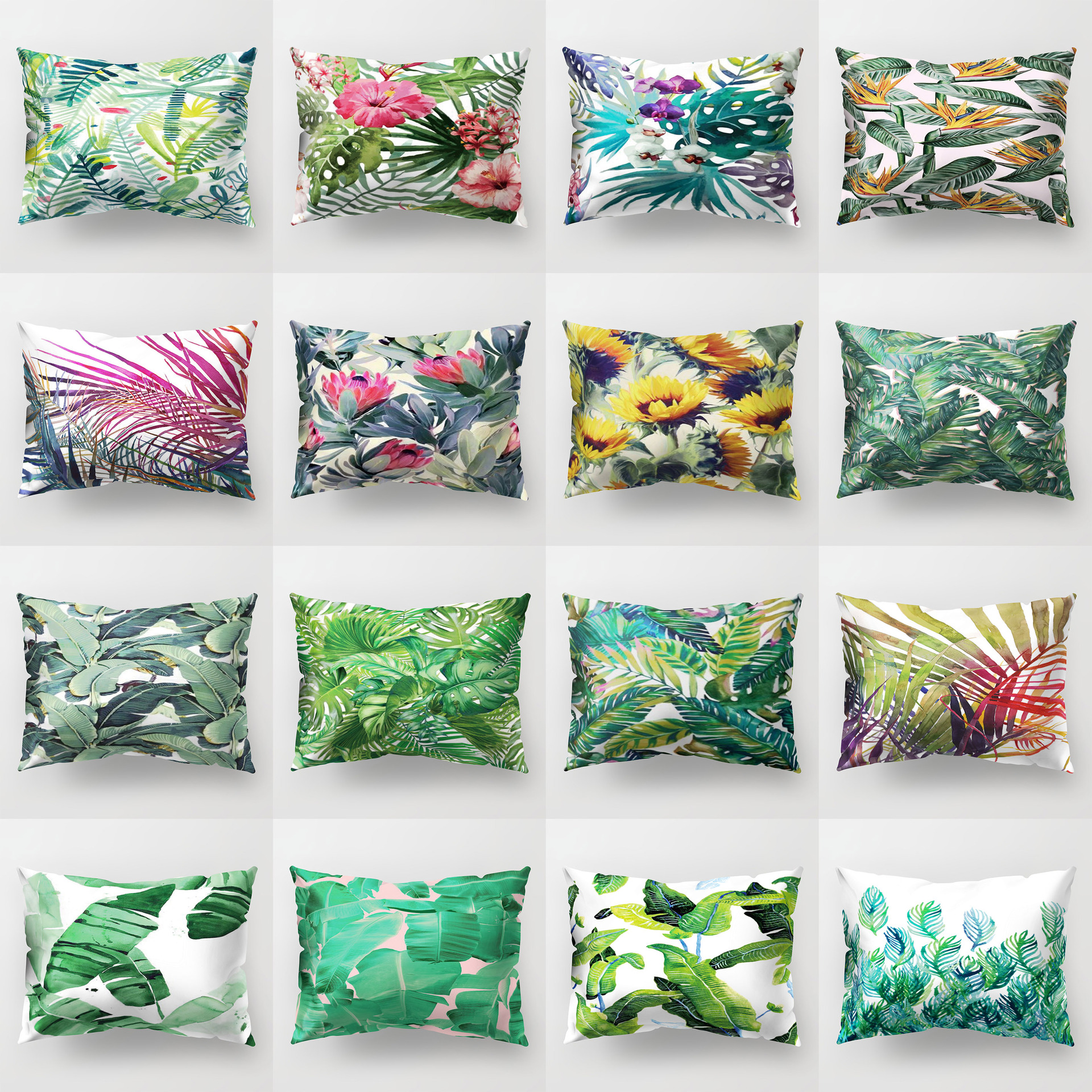 Tropical Leaves Cushion Cover Polyester Green Plants Fresh Pillow Case Summer Home Decor For Sofa Couch Car Decorative 30x50cm