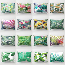 Tropical Leaves Cushion Cover Polyester Green Plants Fresh Pillow Case Summer Home Decor for Sofa Couch Car Decorative 30x50cm цены