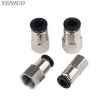 Conector pneumático preto, 4 6 8 10 12mm (m5 ''1/8 '1/4 ''/3/8'' 1/2 '')) rosca feminina empurra em montagem para tubulação de ar