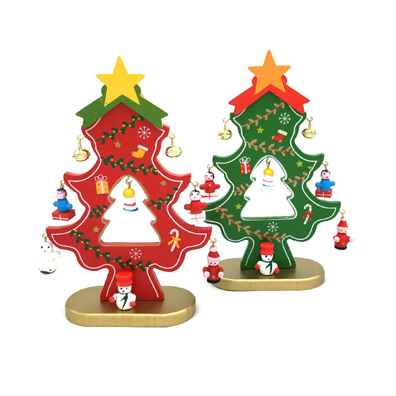 60set 18cm Wooden Christmas Tree With Hanging Decorations & Bells DIY Christmas Tree Table Mini Ornament ZA5226