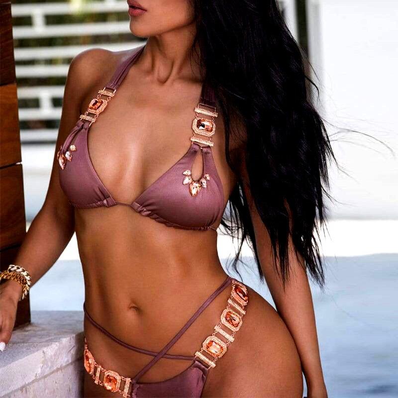 Sexy Crystal Diamond Bikini 2019 Female Halter Bandeau Swimsuit Women Brazilian Swimwear Two piece Bikini set Thong Bathing Suit