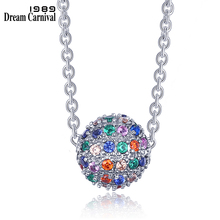 DreamCarnival 1989 Hot New Multi Colors Ball Sliding Pendant Necklace Sphere shape Geometric look Gift Collar Mujer SZ07151MU