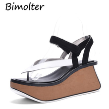 Bimolter Flip-flops Women platform Sandals Thick Heels Summer Shoes Wedges Slippers Casual High Fashio sandalias FC068