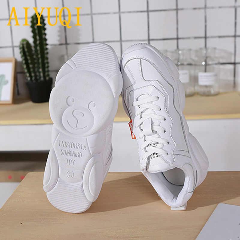 AIYUQI kadın ayakkabı 2020 bahar kadınlar düz çizmeler hakiki deri dantel beyaz ayakkabı kadın vulkanize ayakkabı kadınlar için Sneakers