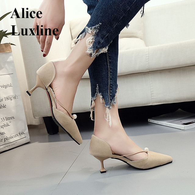 Shallow women pointed shoes Sexy Elegant Pumps Low Heels Women Casual Shoes Slip On flock ladies strange heels beads Shoes heels