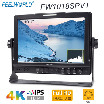 Feelworld FW1018SPV1 10 1 #8222 IPS 3G-SDI kamera hdmi Monitor zewnętrzny Full HD 1920 #215 1200 Monitor LCD do wideo DSLR Stablizer Gimbal tanie i dobre opinie 1920x1200 pixels 800 1 320 nits Us wtyczka Wtyczka uk Au plug Ue wtyczka 10 1
