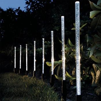 8Pcs Solar Power Tube Light Bubbles Stick Lamp Pathway Lawn Landscape Decoration Acrylic Outdoor Garden Patio Lamps Set