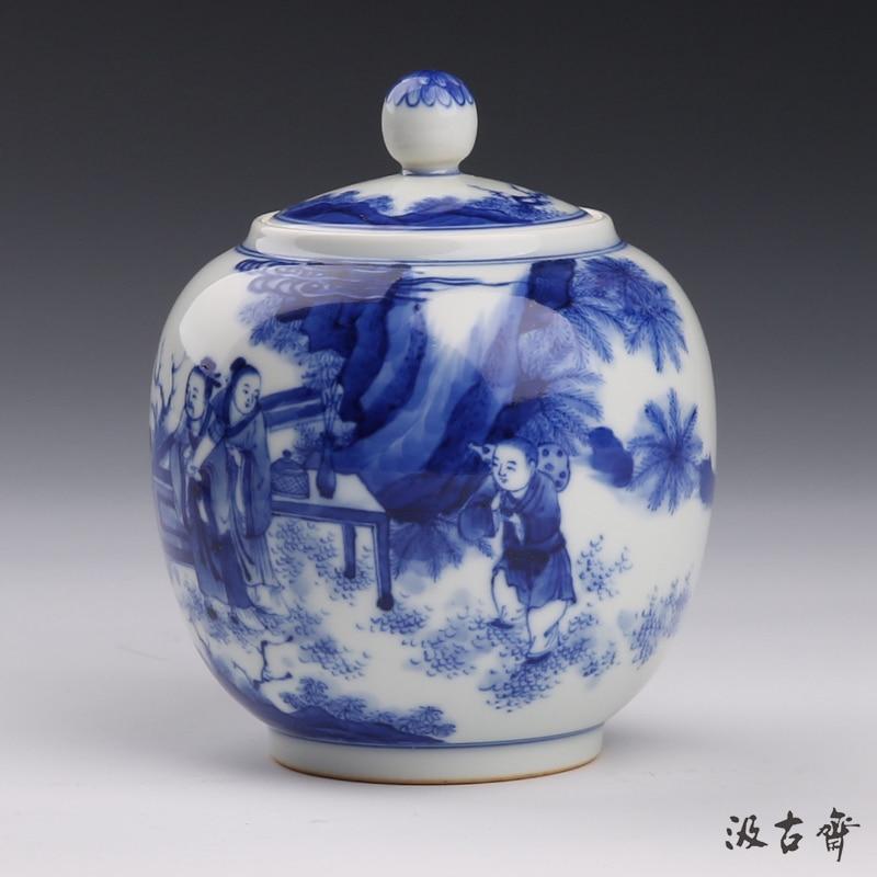 ZGJGZ Jingdezhen ceramic POTS tea  blue and white hand-painted all figures caddy