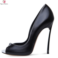 Original Intention New Elegant Women Pumps Sexy Peep Toe Metal Stiletto Heels Pumps Black White Shoes Woman Plus US Size 4 10.5