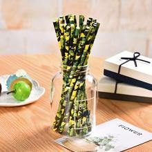 Omilut 10pcs Camouflage Paper Straws Birthday Party Disposable Plates/Cups Decor Theme Supplies