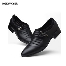 RGKWXYER New Patent Leather Men Casual Shoes High Quality Formal Business Brand Men Shoes Non-slip Wedding Party Formal Shoes