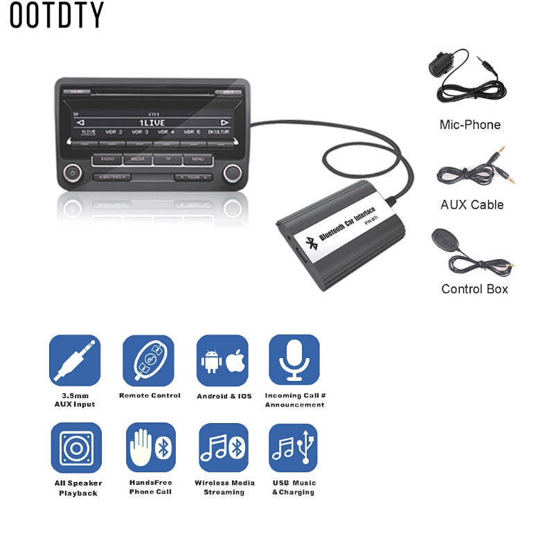 OOTDTY New 1 Set Auto Car Bluetooth Hands Free Kits MP3 Music USB AUX Adapter Interface