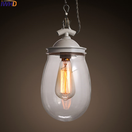 IWHD Glass Hanging Lamp Vintage Pendant Lamp Loft Style Industrial Iron Pendant Lights Dining Living Room Luminaire Lighting chinese style iron lantern pendant lamps living room lamp tea room art dining lamp lanterns pendant lights za6284 zl36 ym