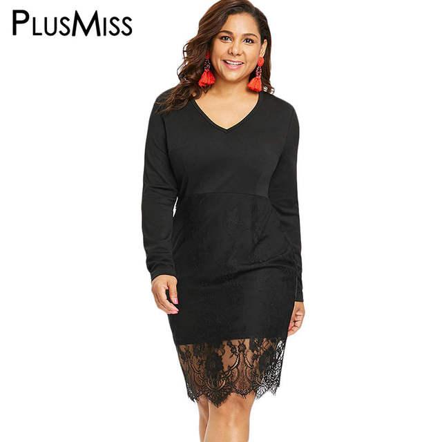 49dafda83301f PlusMiss Plus Size Sexy Lace Black Party Dresses 5XL XXL Women Autumn Long  Sleeve Tight Bodycon Dress Big Size Robe XXXXL XXXL