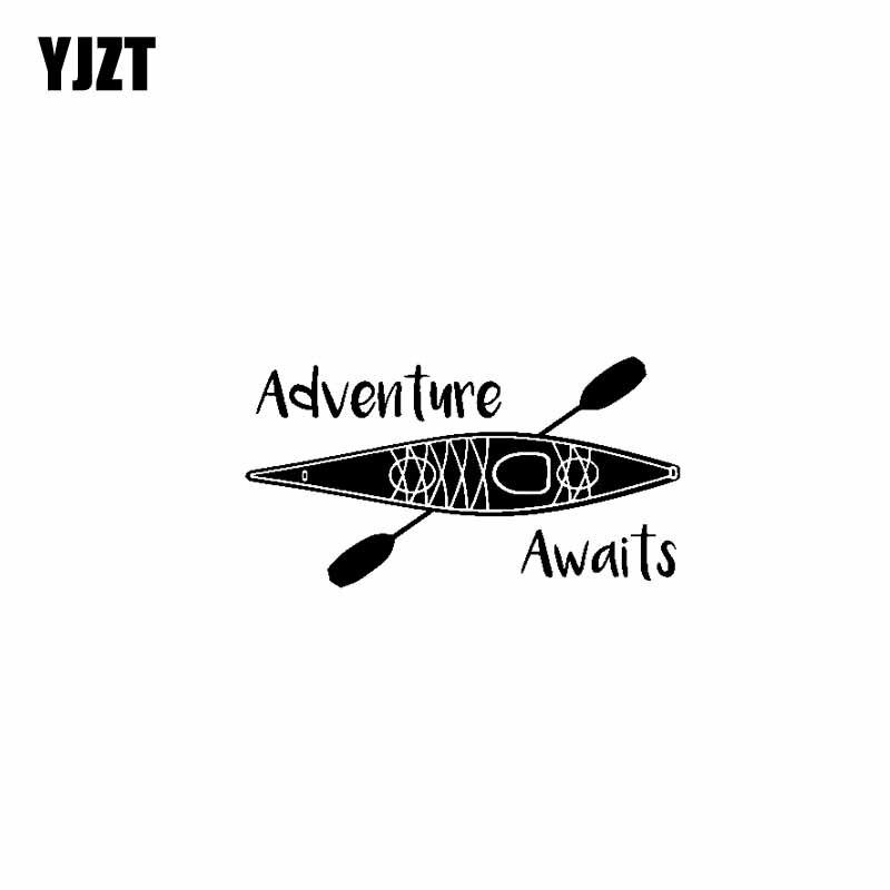 YJZT 12,7 см * 9,4 см Приключение ждет винил черный, серебристый цвет автомобиля Стикеры надписи мотоцикл C13-000384