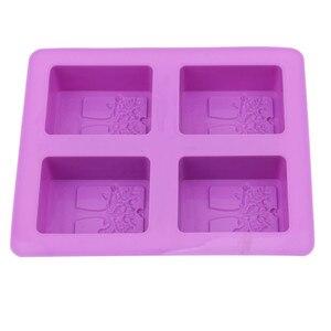 Image 3 - המפלגה קינוח סיליקון עובש צורת עץ 4 חור כיכר סבון אמנות עובש שוקולד עוגת דפוס בעבודת יד כלים