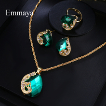 Emmaya Brand Fashion Luxury AAA Cubic Zircon Crystal Earrings Necklace Ring Set For Women Popular Wedding Jewelry Gift
