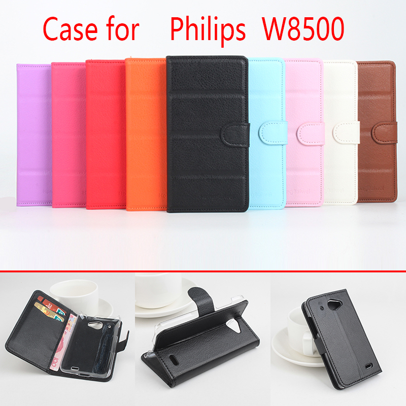 For Philips W8500 Phone Case Folio Flip Pure Color Lichee Pattern PU Leather Wallet Case Cover Cash/Card Slots sanheng