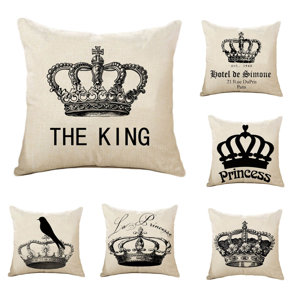 cool decorative pillows promotionshop for promotional cool  - pc throw pillow case cushion cool beautiful crown cotton linen cushionpillow case home wedding decorative pillows