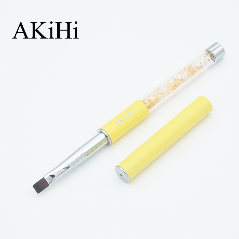 AKiHi Nail Arts Flat Brushes Rhinestone Crystal Acrylic UV Gel Polish Pen Yellow