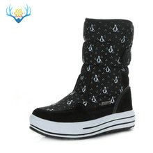 Black penguin printing snow boots synthetic warm plush big size from 36 to 41 durable model EVA sole withstand wear free shippin