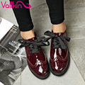 VALLKIN 2017 Women Pumps British 3 Type Lace Up Fashion Shoes Square Med Heel Round Toe PU Patent Leather Woman Shoes Size 34-39