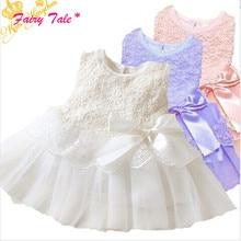 Baby Kids Girls Lace Bowknot Flower Dress Princess Dress Formal Party Tutu Dress Children Clothes Hot