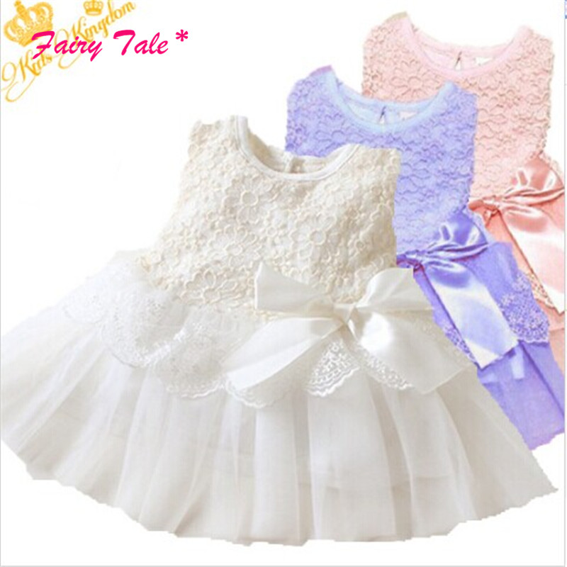 Tutu-Dress Girls Baby Party Lace Bowknot Formal 5-Colors Kids Children title=