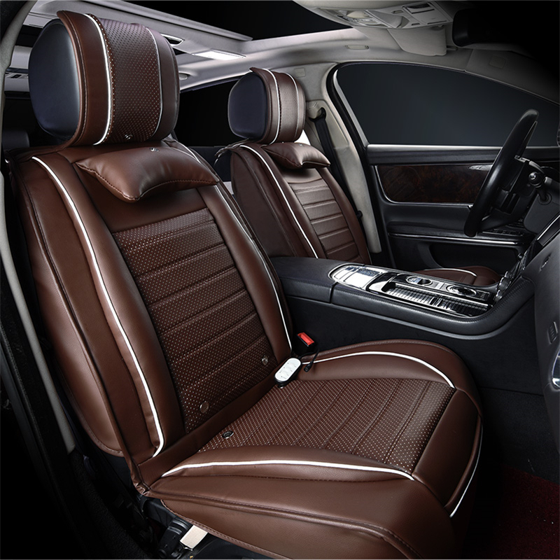 Perforated Leather Seat Covers For Ford Kuga St Fusion Mustang Cmax Taurus Escape Edge Explorer Mage Heat Protector 16i