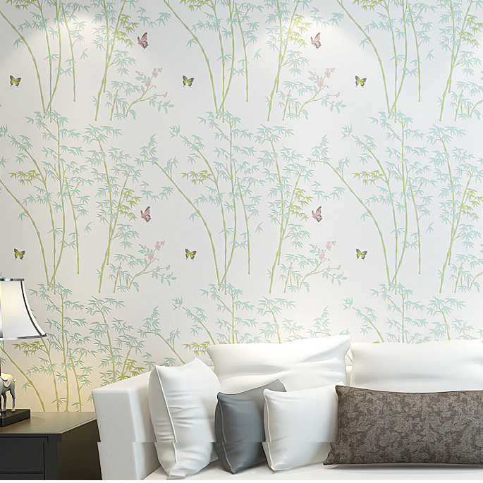 Papier Pein Modern Rustic Bamboo Wallpapers Butterfly Bamboo Design Wall Paper Roll For Living Room
