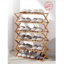 Shoe rack multi-layer simple home economy rack storage rack at the door of dormitory folding bamboo shoe cabinet without install