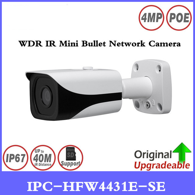 Brand IPC-HFW4431E-SE 4MP WDR IR Mini Bullet Network Camera 40m IR H.265 Smart Detection support Micro SD Card IP67 3DNR PoE AWB free shipping dahua cctv camera 4k 8mp wdr ir mini bullet network camera ip67 with poe without logo ipc hfw4831e se