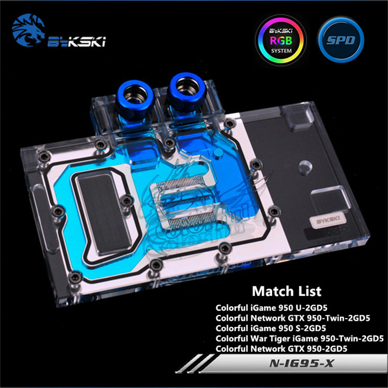Bykski Full Coverage GPU Water Block For Colorful GTX960 green GTX950 Graphics Card N-IG95-XBykski Full Coverage GPU Water Block For Colorful GTX960 green GTX950 Graphics Card N-IG95-X