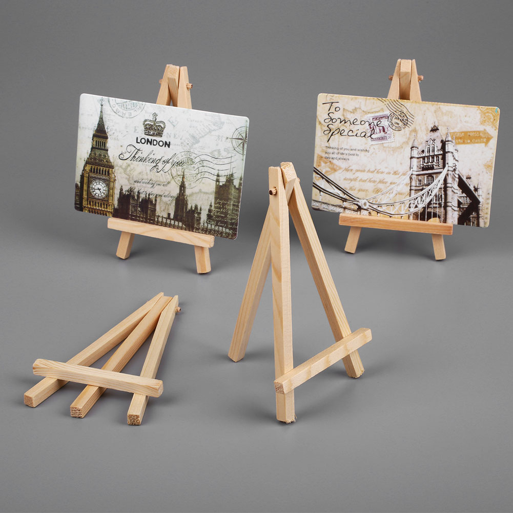 10Pcs 15.5*8.5*1.6cm Mini Wooden Easels Art Holder Artwork Display Novelty Easels Drawing Boards For Beuaty Party Wedding Decor