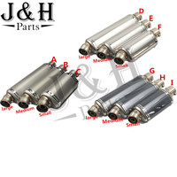 Motorcycle Universal Stainless Steel Muffler Triangle Exhaust Pipe For 125 600cc Motor 3