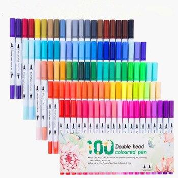 24/36/48/60/80/100 colores lápiz de doble cabeza delineador de dibujo pintura acuarela arte rotulador pincel útiles escolares: Juego de bolígrafos