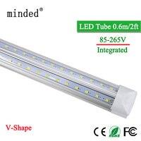2000lm ac85-265v v字型led電球チューブ20ワットt8 600ミリメートル2フィートled統合チューブライト2ft 96 leds smd2835 ledライトスーパー明るい